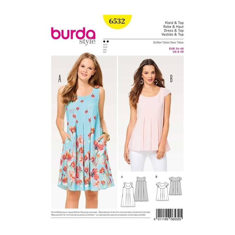 Patron Burda 6532 Robe & Haut Taille 34-46