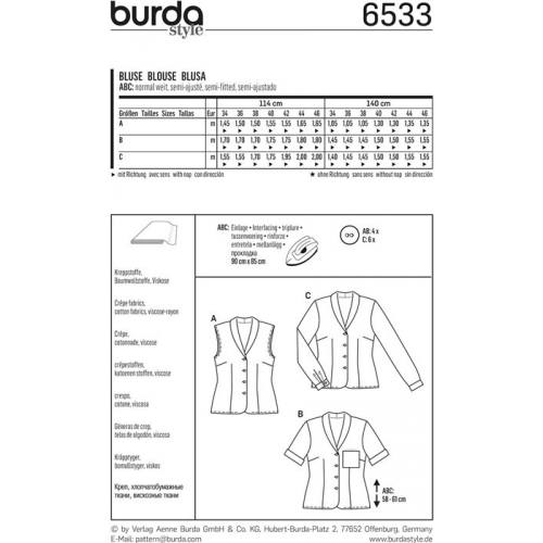 Patron Burda 6533 Blouse Taille 34-46