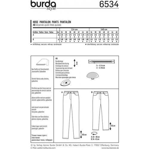 Patron Burda 6534 Pantalon Taille 34-46
