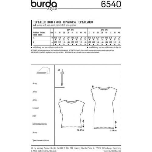 Patron Burda 6540 Haut & Robe Taille 32-46