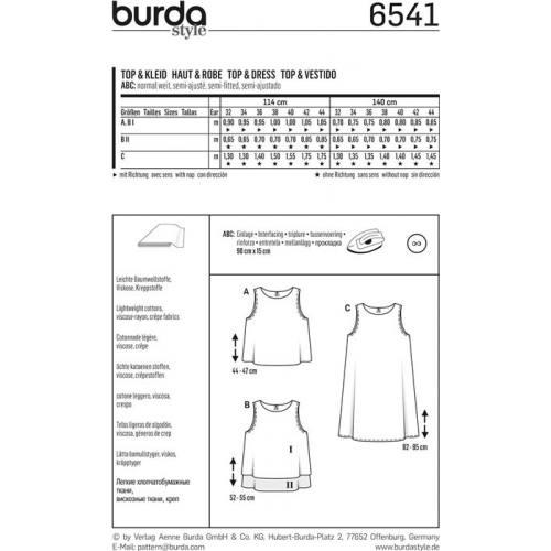 Patron Burda 6541 Haut & Robe Taille 32-44