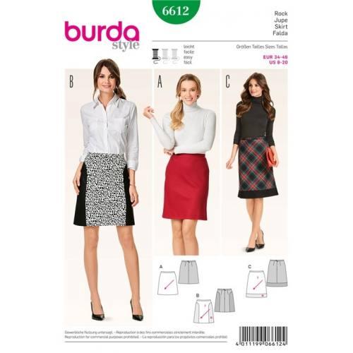 Patron Burda 6612 : Jupe Taille 34-46