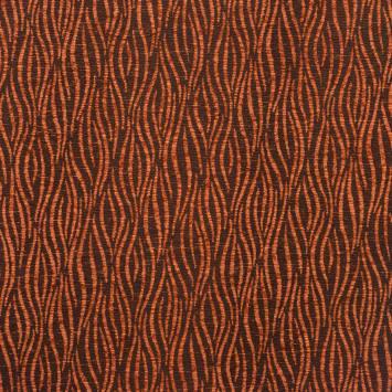 Jacquard motif velours zébré marron et rouille
