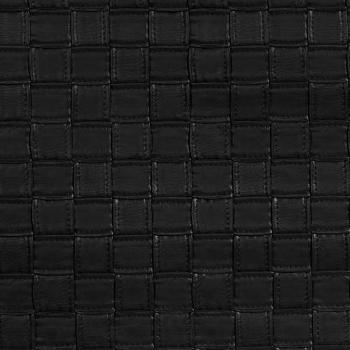 Simili cuir noir brillant motifs carrés