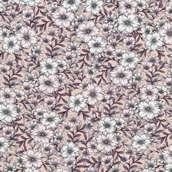 Tissu crêpe beige imprimé fleurs blanches et roses