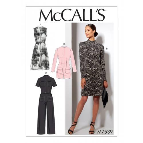 Patron Mc Call's M7539 : Robes et combinaisons pour jeune femme 34-42