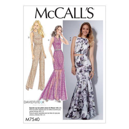 Patron Mc Call's M7540 : Haut, robe, jupe et combinaison pour jeune femme 42-50
