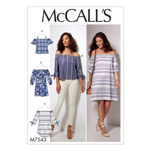 Patron Mc Call's M7543 : Hauts, tunique et robe pour jeune femme Taille 32-42