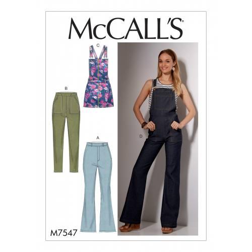Patron Mc Call's M7547 : Jeans et salopettes pour jeune femme Taille 34-42