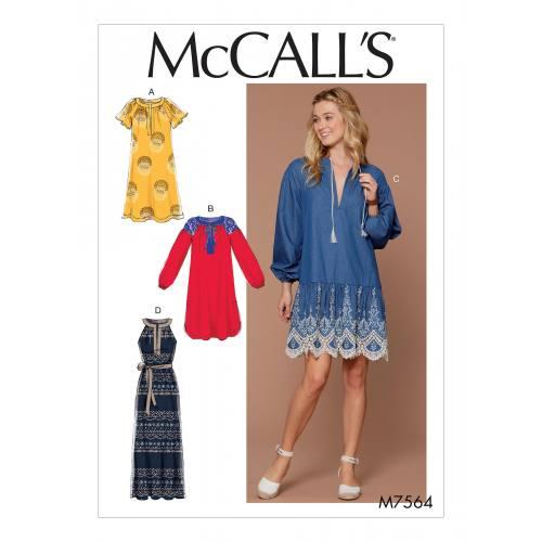 Patron Mc Call's M7564 : Robes et ceinture pour jeune femme 32-42
