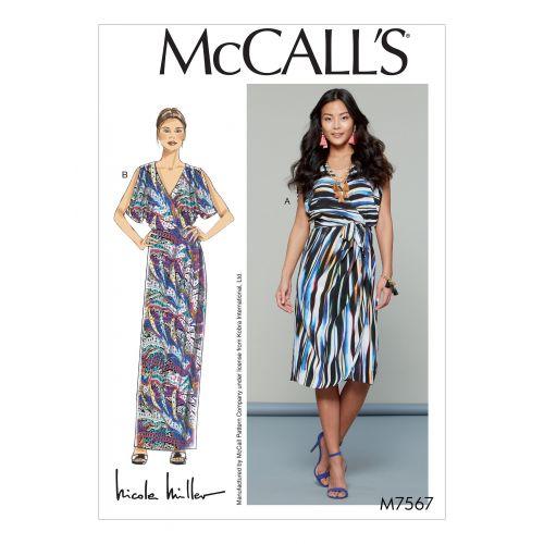 Patron Mc Call's M7567 : Robes et ceinture pour jeune femme 34-42