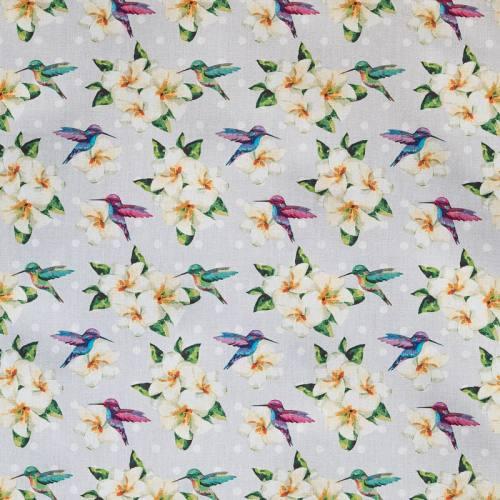 Popeline bleue imprimé fleurs et oiseaux
