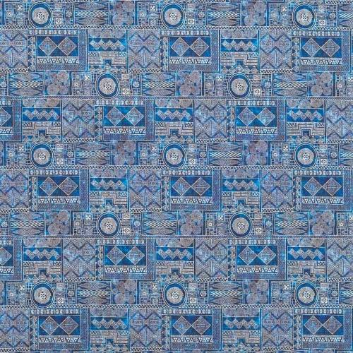 Popeline bleue à motifs ethniques