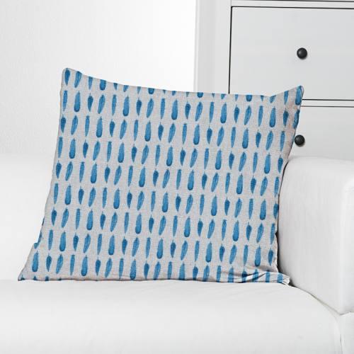 Toile polycoton aspect lin imprimé plume bleue