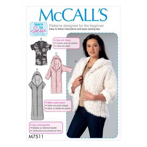 Patron Mc Call's M7511 : Vestes pour jeune femme 32-42