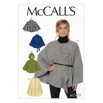 Patron Mc Call's M7477 : Capes et ceinture pour jeune femme 44-52
