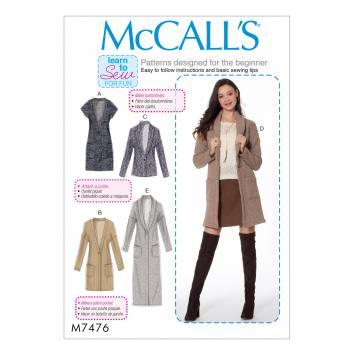 Patron Mc Call's M7476 : Gilet et cardigans pour jeune femme 44-52