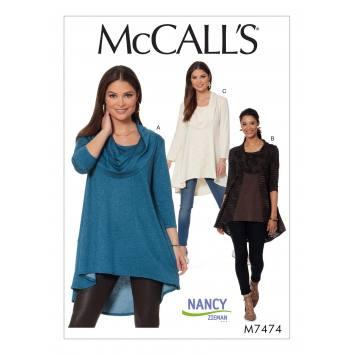 Patron Mc Call's M7474 : Tuniques pour jeune femme 32-42