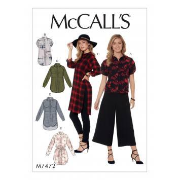 Patron Mc Call's M7472 : Chemises et ceinture pour jeune femme 42-50