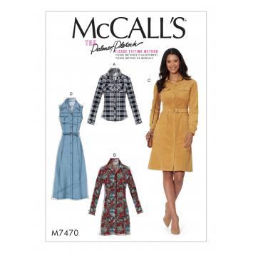 Patron Mc Call's M7470 : Chemise et robes pour jeune femme 34-42