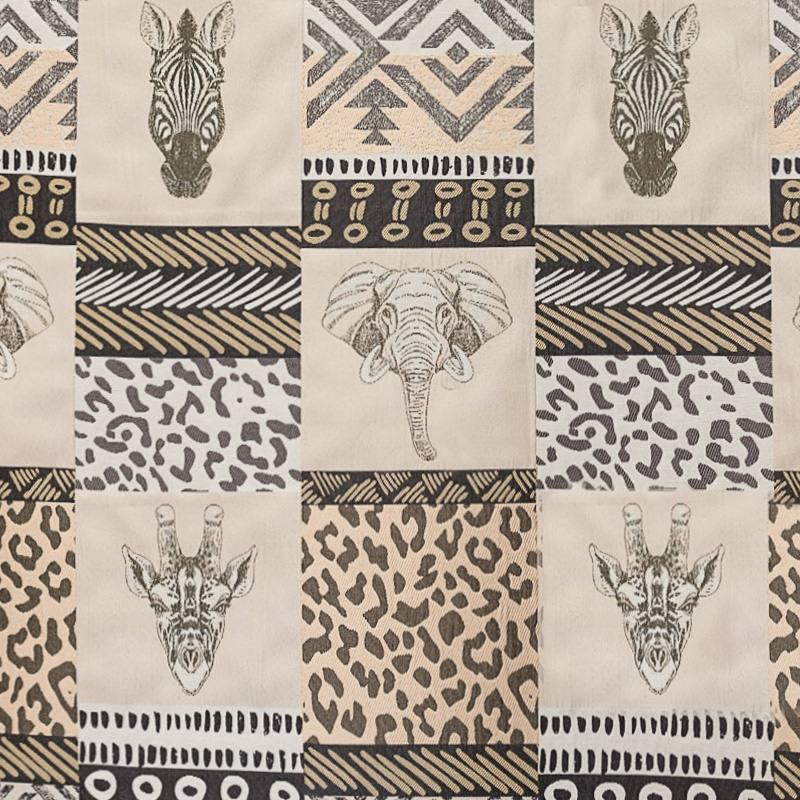 jacquard motif animaux de la savane pas cher tissus price. Black Bedroom Furniture Sets. Home Design Ideas