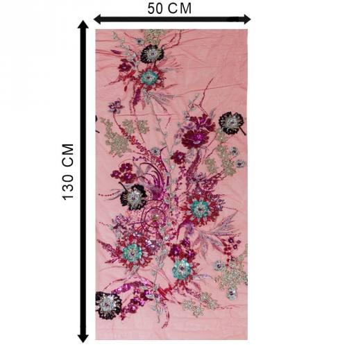 Coupon 50 x 130 Résille orientale rouge pailletée à fleurs brodées