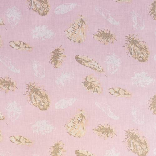 Coton rose clair motif plume