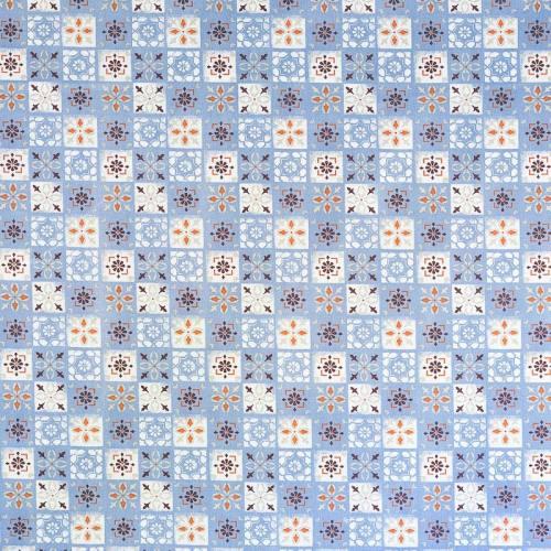Coton bleu imprimé carreaux de ciment