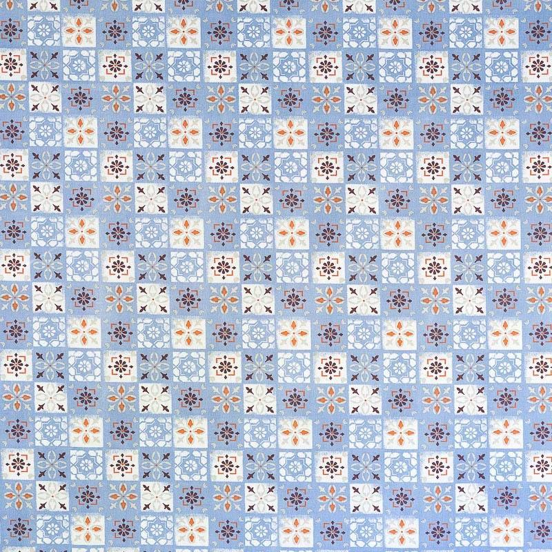 Coton bleu imprim carreaux de ciment pas cher tissus price for Toile ciree carreaux de ciment