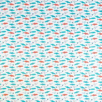 Coton blanc imprimé poisson rouge et bleu