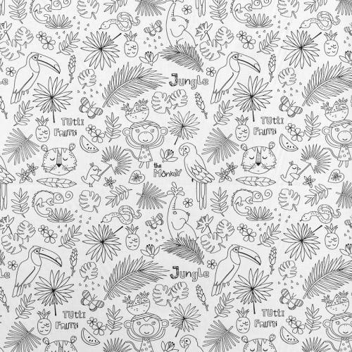 Coton à colorier motif Jungle