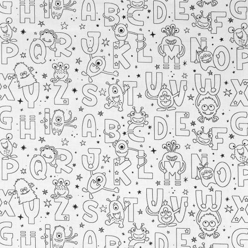 Tissu coton à colorier motif alphabet