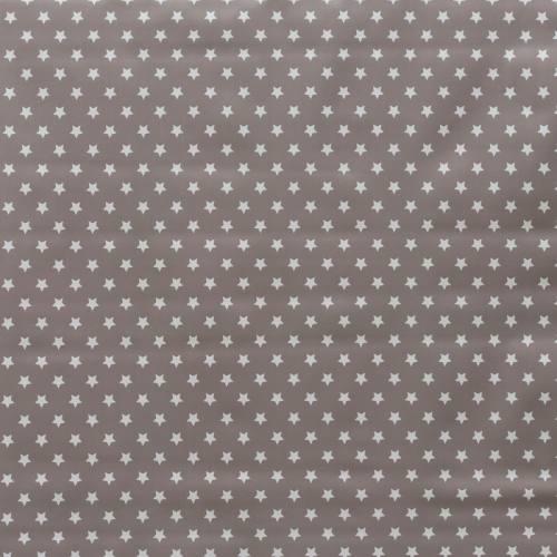 Toile cirée grise motif petites étoiles blanches