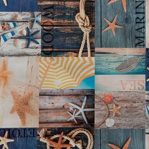 Toile cirée motif coquillage et bois flotté
