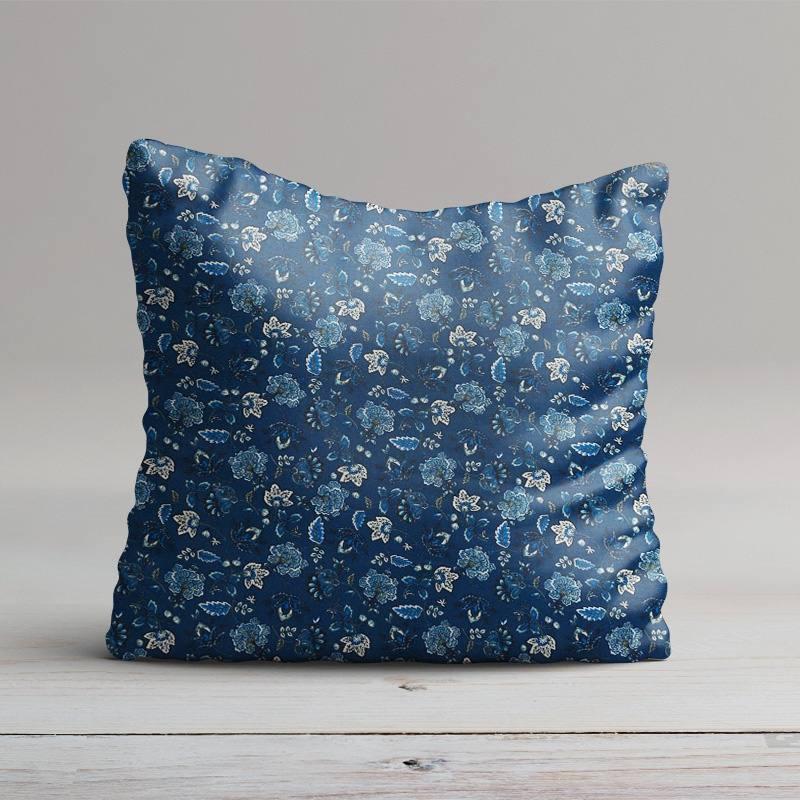 percale de coton bleu imprim fleuri pas cher tissus price. Black Bedroom Furniture Sets. Home Design Ideas