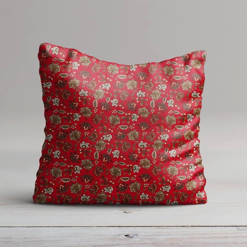 percale de coton rouge imprim fleuri pas cher tissus price. Black Bedroom Furniture Sets. Home Design Ideas