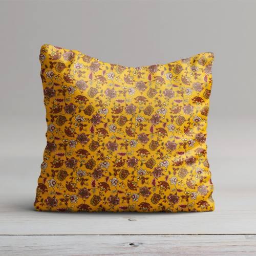 Percale de coton jaune imprimé fleuri