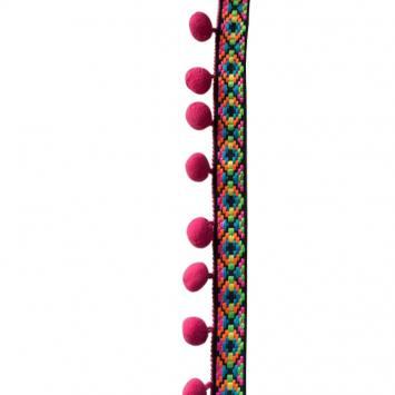 Galon ethnique gros pompon fuchsia