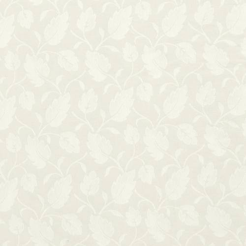 Jacquard polycoton écru motif feuilles blanches grande largeur