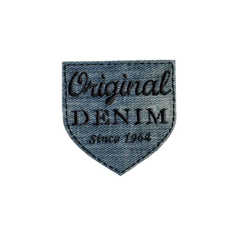 """Écusson brodé """"Original denim"""" thermocollant bleu délavé"""