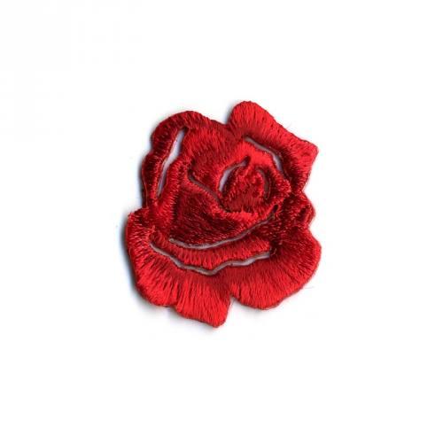"""Écusson brodé """"Petite rose"""" thermocollant rouge"""