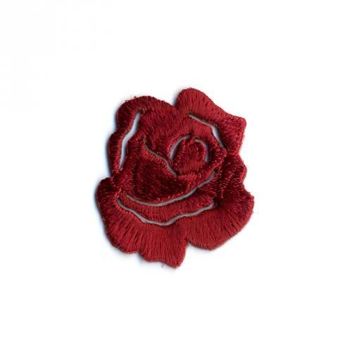 """Écusson brodé """"Petite rose"""" thermocollant carmin"""
