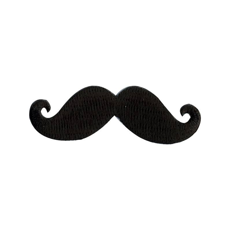 "Écusson brodé ""Moustache"" thermocollant noir"