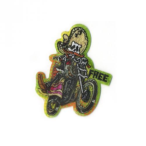 """Écusson """"Squelette mexicain avec moto"""" thermocollant"""