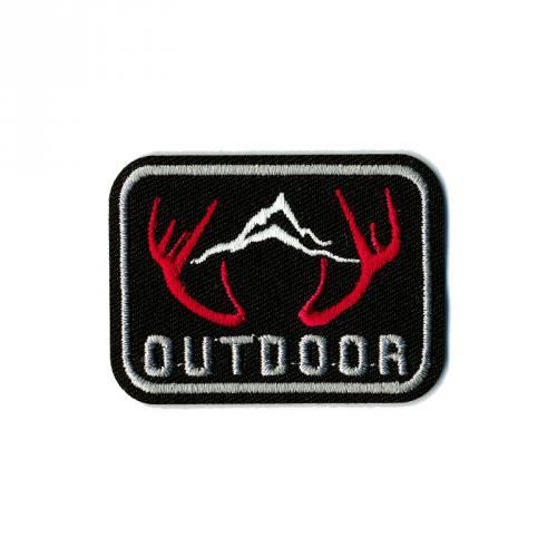 """Écusson """"Outdoor"""" thermocollant noir, gris et rouge"""