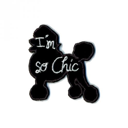 """Écusson """"Caniche I'm so chic"""" thermocollant noir"""