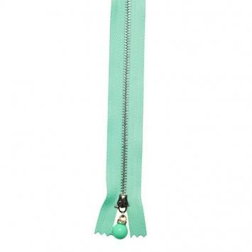 Fermeture 20 cm métal vert d'eau avec tirette perle