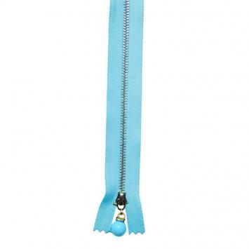 Fermeture 20 cm métal bleue avec tirette perle
