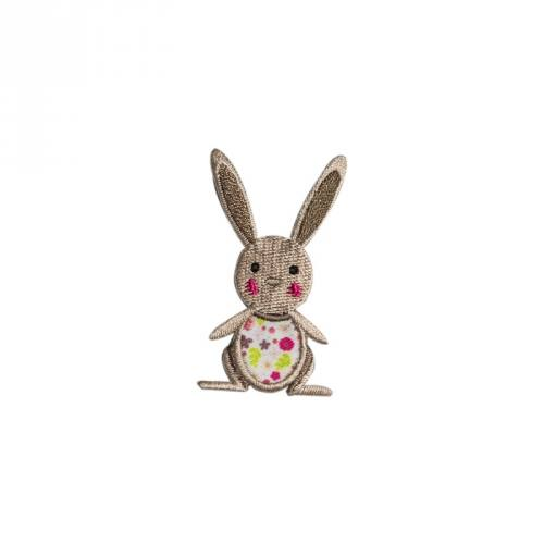 "Écusson ""Lapin fleuri"" thermocollant"