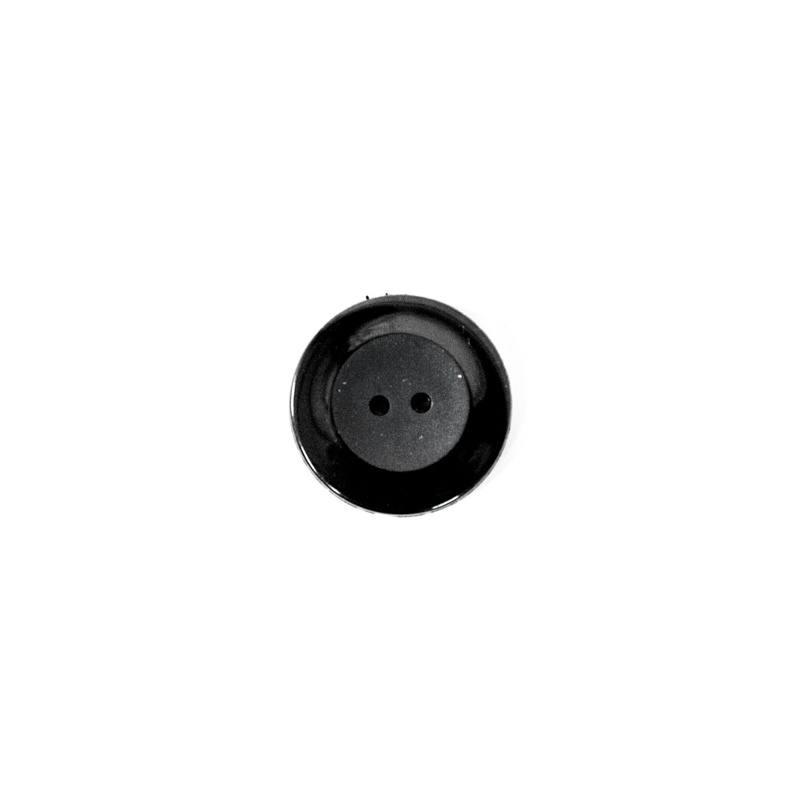Bouton noir rond 2 trous 27mm pas cher tissus price - Bouton de liege ...